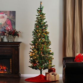 7.5 ft Slim Christmas Tree with Color Lights