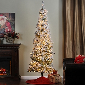 7.5 ft. Flocked Christmas Tree with White Lights