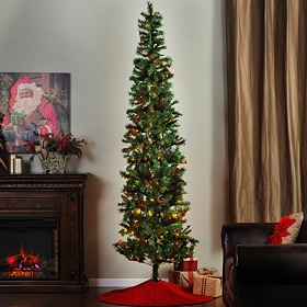9 ft. Slim Christmas Tree with Color Lights