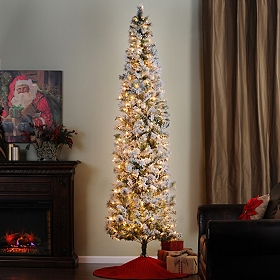 9 ft. Flocked Christmas Tree with White Lights