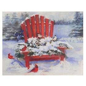 Snow Covered Adirondack Chair Canvas Art