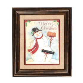 Burlap Snowman Framed Art