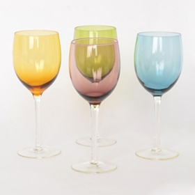 Tuscana Colored Wine Glasses, Set of 4