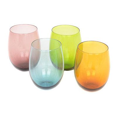 Tuscana Colored Stemless Wine Glasses, Set of 4