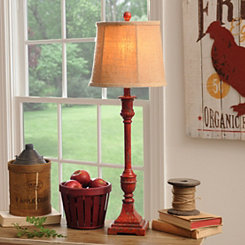 Distressed Red Buffet Lamp