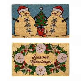 Coastal Christmas Coir Doormat