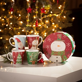 Ceramic Christmas Mugs, Set of 4