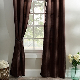 Chocolate Brown Curtain Panel Set, 96 in.