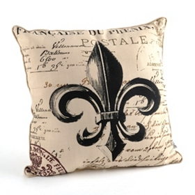 Faux Linen Fleur-de-Lis Throw Pillow