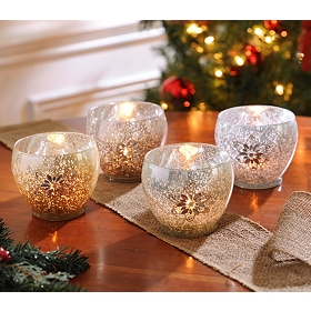 Mercury Snowflake Votive Holder, Set of 4