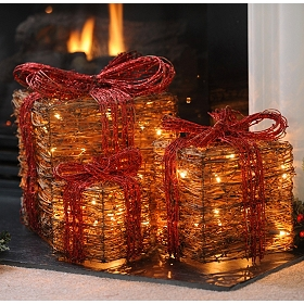 Pre-Lit Natural Grapevine Gift, Set of 3