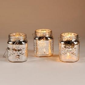 Silver Snowflake Mason Jar Lantern, Set of 3