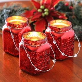 Red Snowflake Mason Jar Lantern, Set of 3