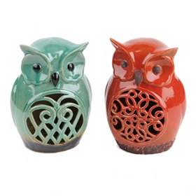 Ceramic Cutouts Owl Statue