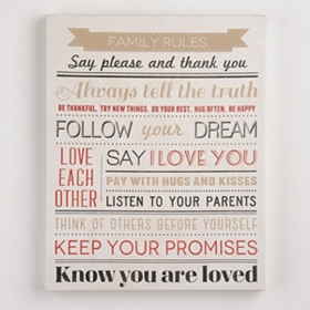 Loving Family Rules Canvas Art