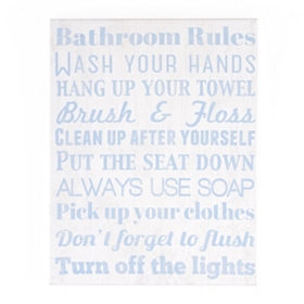 Bathroom Rules Canvas Art Plaque