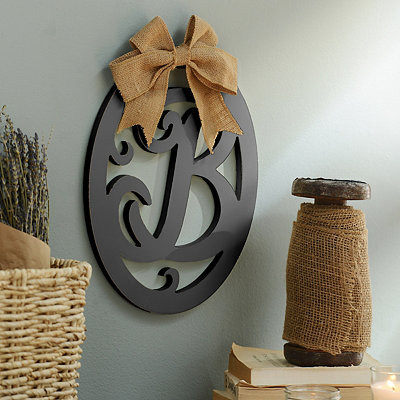 Black Wooden Monogram Wall Plaque