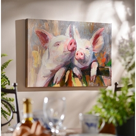 Pig Friendship Canvas Art Print