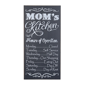 Mom's Kitchen Hours Wall Plaque