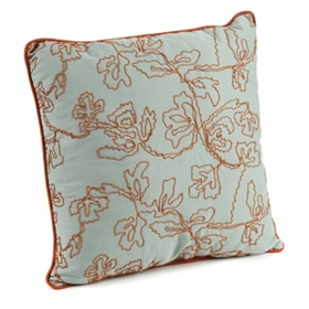 Aqua & Coral Corded Accent Pillow