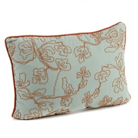 Aqua & Coral Oblong Corded Accent Pillow