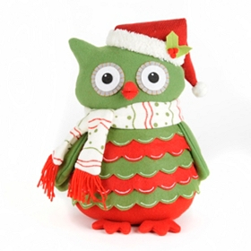 Ruffled Green Owl Pillow
