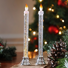 Silver Glittery Acrylic Candlesticks, Set of 2