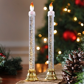 Gold Glittery Acrylic Candlesticks, Set of 2