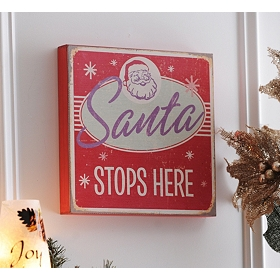 Vintage Santa Stops Here Art Box