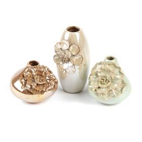 Floral Shimmer Vase, Set of 3