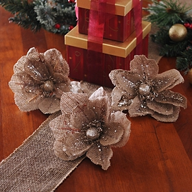 Glitzy Tan Clip-On Magnolia, Set of 3