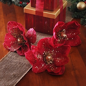 Glitzy Red Clip-On Magnolia, Set of 3