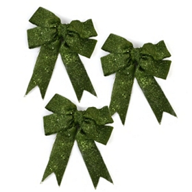Glitzy Green Burlap Clip-On Bow, Set of 3