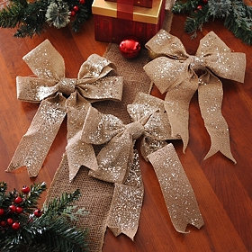 Glitzy Tan Burlap Clip-On Bow, Set of 3