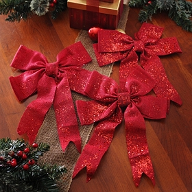 Glitzy Red Burlap Clip-On Bow, Set of 3