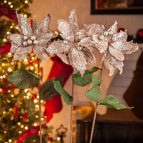 Natural Poinsettia Stems, Set of 3