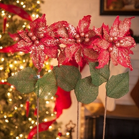Red Poinsettia Stems, Set of 3