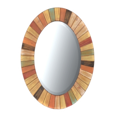 Spice Oval Wood Mirror, 26x36