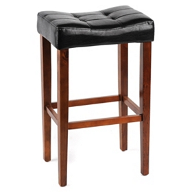 Black Saddle Bar Stool, 30 in.