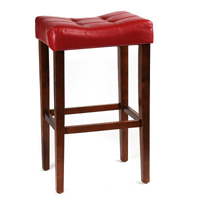 Red Saddle Bar Stool, 30 in.