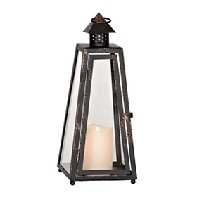 Bronze Metal Lantern with LED Candle