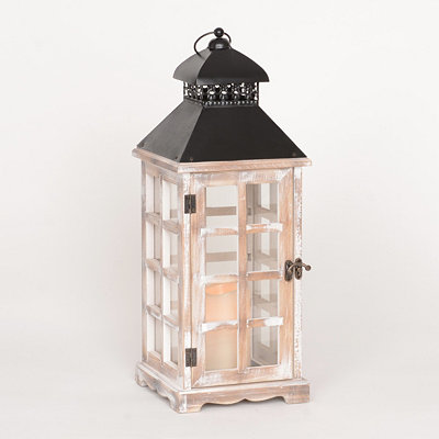 Weathered White Lantern with LED Candle