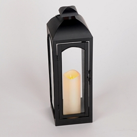 Black Metal Lantern with LED Candle, 20 in.