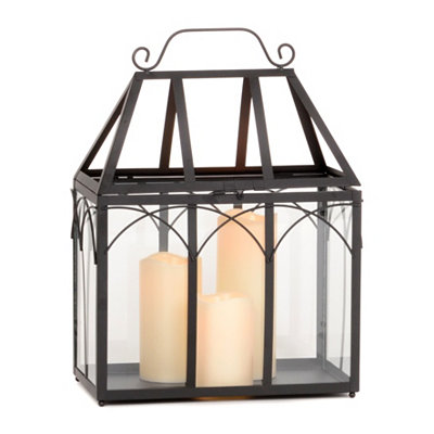 Black Metal Lantern with LED Candles, 18 in.