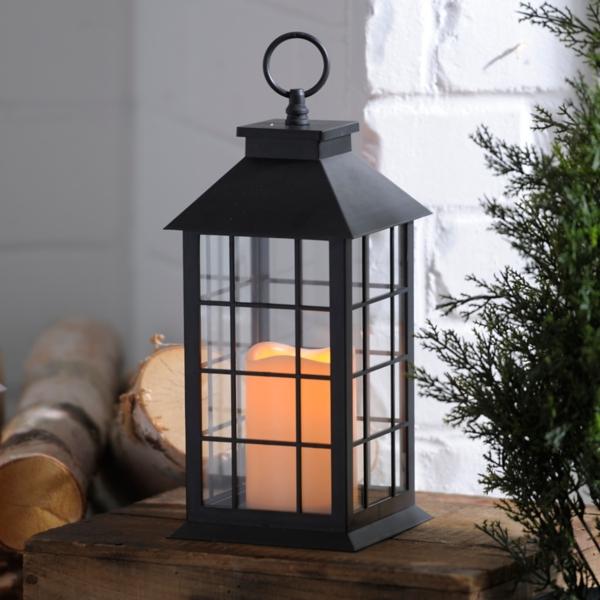 Black Lantern With LED Candle