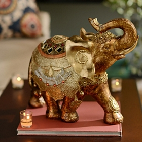 Gold Resin Ornate Elephant Statue