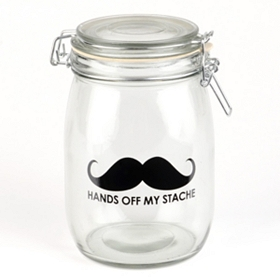 Hands Off My Stache Glass Jar
