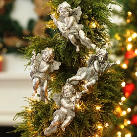 Silver Cherub Ornament, Set of 4