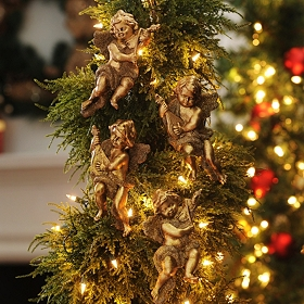 Gold Cherub Ornament, Set of 4