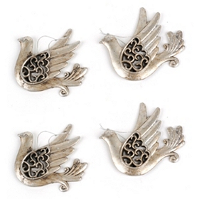 Antiqued Silver Dove Ornament, Set of 4